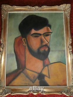Portrait CUBISTE Henri Laurens, école MODIGLIANI Huile sur Toile tableau ancien