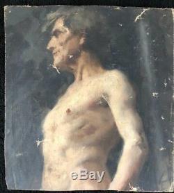 Portrait D'homme Au Buste Anonyme Xixeme Huile Sur Toile