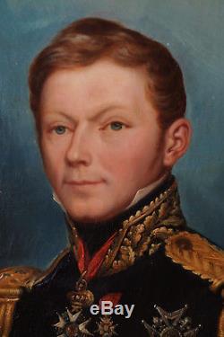 Portrait D'un Officier Sup. Second Empire Huile S/toile Cadre 1850