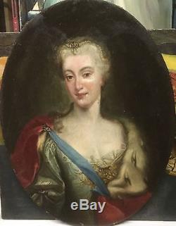 Portrait Dame de qualité XVIIIeme Huile Sur Toile. Ecole Française