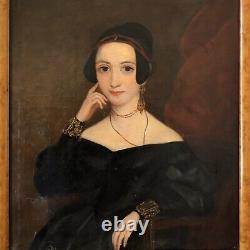 Portrait De Femme École Anglaise Debut XIXE Huile Sur Toile