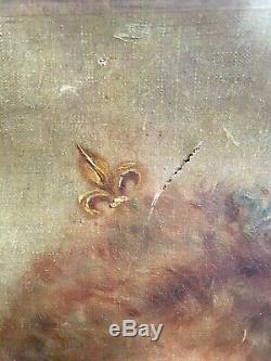 Portrait De Femme Fleurs De Lys Royauté Princesse Huile Toile XIXème