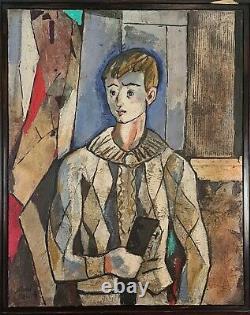 Portrait De Jeune. Huile Sur Toile. Miguel Torner De Semir. Vingtième Siècle