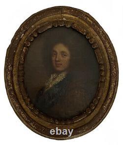Portrait Dun Gentilhomme Miniature Huile Sur Toile XVIII Siècle
