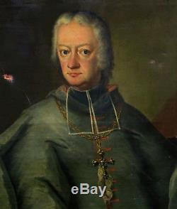 Portrait Evêque de Bâle Rinck de Baldenstein Huile sur toile XVIIIème siècle