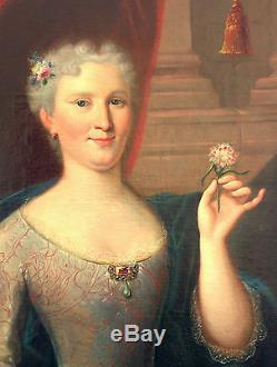 Portrait Femme Epoque XVIIIème siècle Huile sur toile Epoque Louis XV