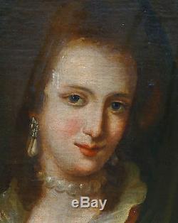Portrait Femme au sorbet Epoque fin XVIIème siècle Huile sur toile