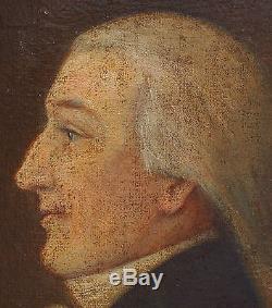 Portrait Homme Profil Epoque XVIIIème siècle Huile sur toile Ecole Française