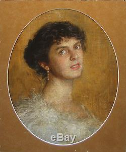 Portrait Jeune Femme Brune Robe Blanche Tableau Peinture France Huile Toile Art