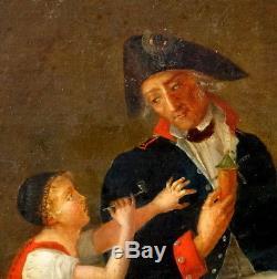 Portrait Officier Guerres de la Révolution Française Huile sur toile XVIIIème