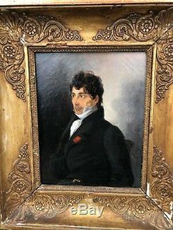 Portrait Romantique, Ecole Française Monogrammé Et Daté 1823