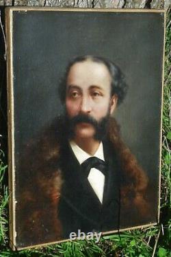 Portrait à l'huile d'un dandy à la fourrure