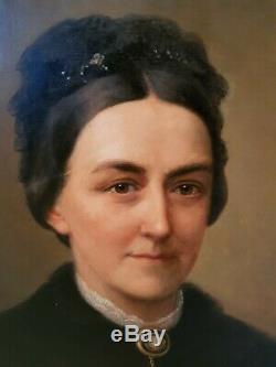 Portrait ancien de femme, huile sur toile époque XIX ème s