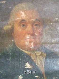 Portrait d'Ancêtre Huile sur Toile- 18ème Siècle à restaurer