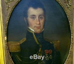 Portrait d'Officier Epoque Charles X Huile Sur Toile Ordre de St Ferdinand