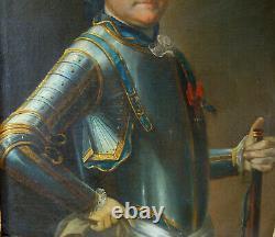 Portrait d'Officier Général d'époque Louis XV dans son cadre d'origine doré