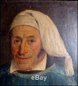 Portrait d'Un Vigneron de Saumur Huile sur Toile Encadrée France Vers 1830