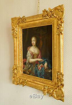 Portrait d'aristocrate d'époque Louis XIV circa 1660, huile sur toile XVIIe