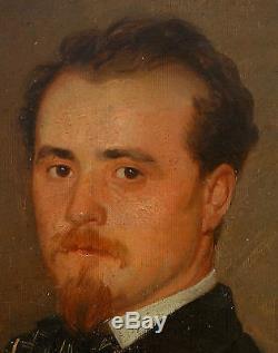 Portrait d'homme huile sur toile Ecole française du XIXème siècle Second Empire