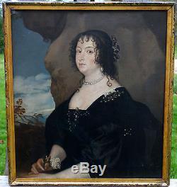 Portrait de Dame de qualité Huile sur toile du XVIIIème siècle
