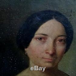 Portrait de Femme Huile sur toile Ecole Française du XIXème Louis Philippe