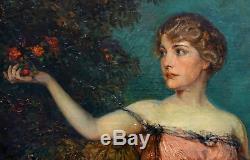 Portrait de Femme Huile sur toile Ecole française XIX-XXème siècle