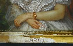 Portrait de Femme Napoléon III Ecole française du XIXème siècle Pastel sur Toile