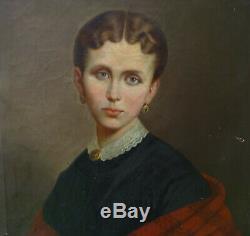 Portrait de Femme Second Empire Huile sur Toile XIXème siècle
