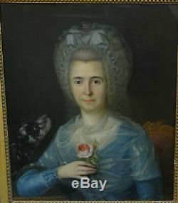 Portrait de Femme au Chien d'Epoque Louis XVI Huile sur Toile du XVIIIème siècle