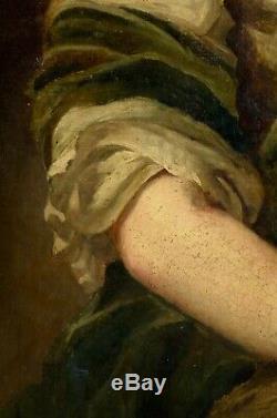 Portrait de Femme de Qualité, Huile sur toile XVIIIème avec son Cadre