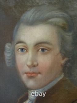 Portrait de Gentilhomme sous Louis XVI Huile sur Toile XIXème siècle