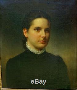 Portrait de Jeune Femme Ecole française du XIXème siècle Huile sur toile