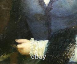 Portrait de Jeune Femme d'Epoque Second Empire Huile sur Toile du XIXème siècle