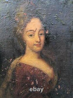 Portrait de Jeune Femme du XVIII ème Siècle 18 ème Siècle Huile sur Toile HST