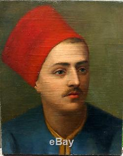 Portrait de Zouave Huile sur toile Ecole française du XIXème siècle
