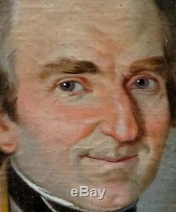 Portrait de curé Epoque Restauration début XIXème siècle Huile sur toile Prêtre