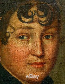 Portrait de femme Ecole Française Huile sur toile XIXème Epoque 1er Empire