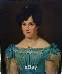 Portrait de femme Ecole Française Huile sur toile XIXème siècle Charles X