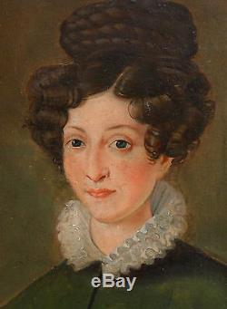 Portrait de femme Ecole Française Huile sur toile XIXème siècle Louis Philippe