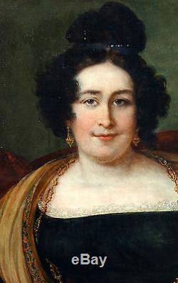 Portrait de femme Ecole Française Huile sur toile XIXème siècle Louis XVIII