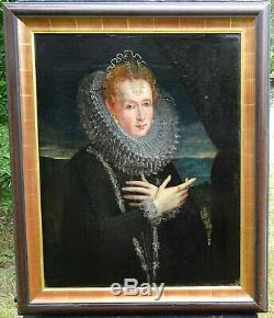 Portrait de femme Ecole anglaise du XVIème siècle huile sur toile