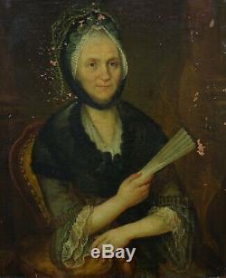 Portrait de femme Ecole française Huile sur Toile du XVIIIème siècle