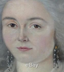 Portrait de femme Elisabeth Horrie époque Louis XVI Huile sur toile