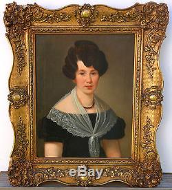 Portrait de femme Epoque Charles X huile sur toile début XIXème siècle