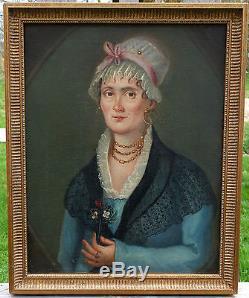 Portrait de femme Epoque Empire Ecole Française Huile sur toile XIXème siècle
