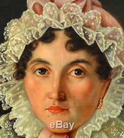 Portrait de femme Epoque Louis Philippe huile sur toile début XIXème siècle