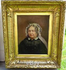 Portrait de femme Epoque Restauration Huile sur toile Louis Philip XIXème siècle