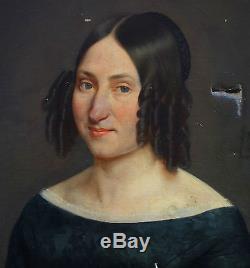 Portrait de femme Huile sur toile XIXème siècle époque Louis Philippe