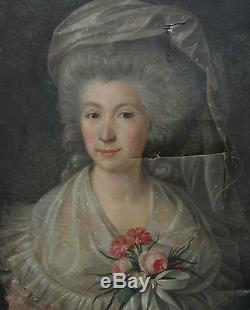 Portrait de femme Louis XVI Ecole Française du XVIIIème siècle Huile sur toile