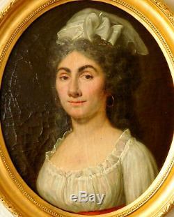 Portrait de femme aux boucles créoles huile sur toile époque Directoire XVIIIe